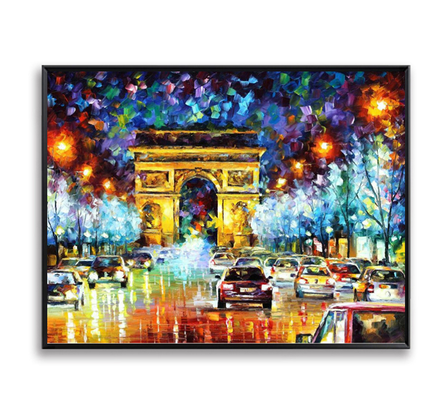 Beauty Night Scene France Paris Digital Oil Painting By Numbers Wall Pictures for Living Room Home Decoration Cuadros FSZ-212