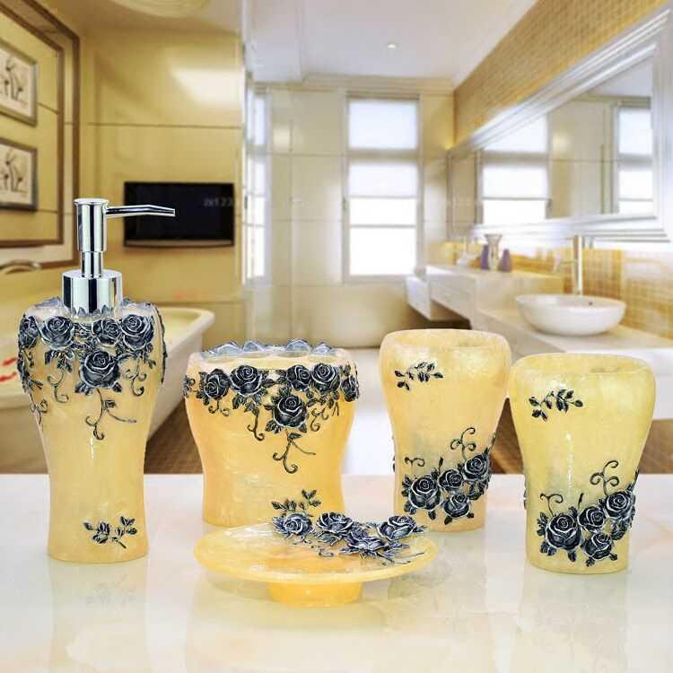 Szczotka do kubków łazienka zestaw luksusowe moda żywica pięć sztuk uchwyt wanna butelka żelowa mydło box uchwyt na szczoteczkę do zębów usta urządzenia