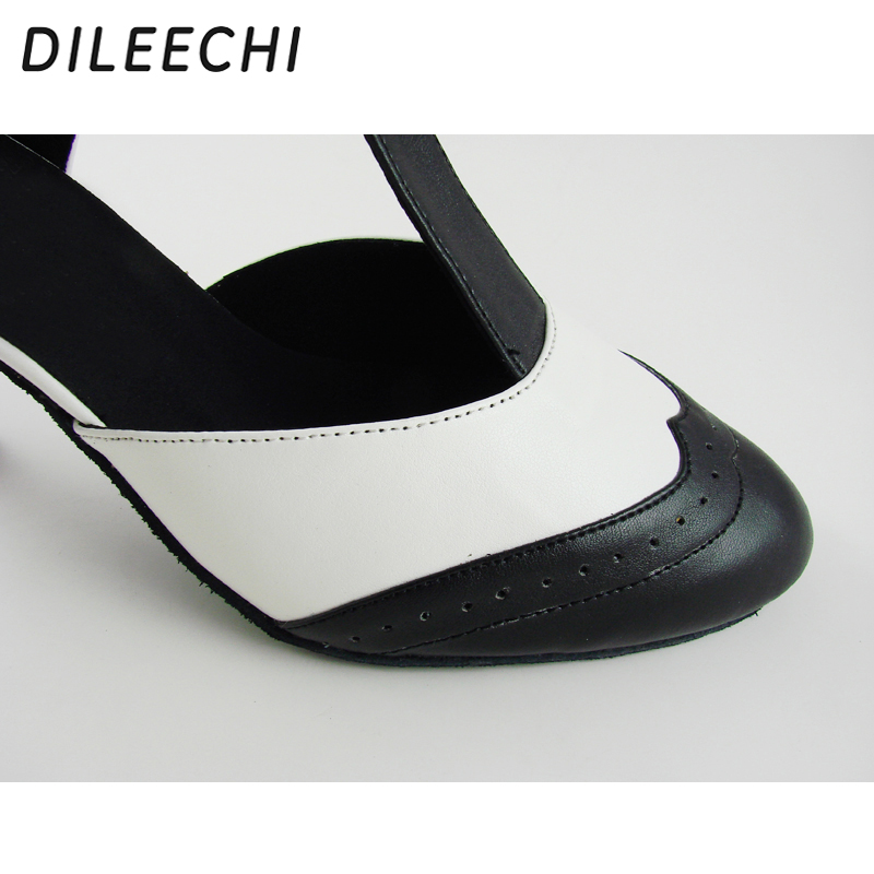 Image 5 - DILEECHI Brand White Real leather T Strap Latin modern dance shoes Women's High heels 7.5cm Autumn and Winter Black party shoes-in Dance shoes from Sports & Entertainment