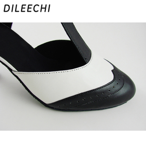 Image 5 - DILEECHI Brand White Real leather T Strap Latin modern dance shoes Womens High heels 7.5cm Autumn and Winter Black party shoes