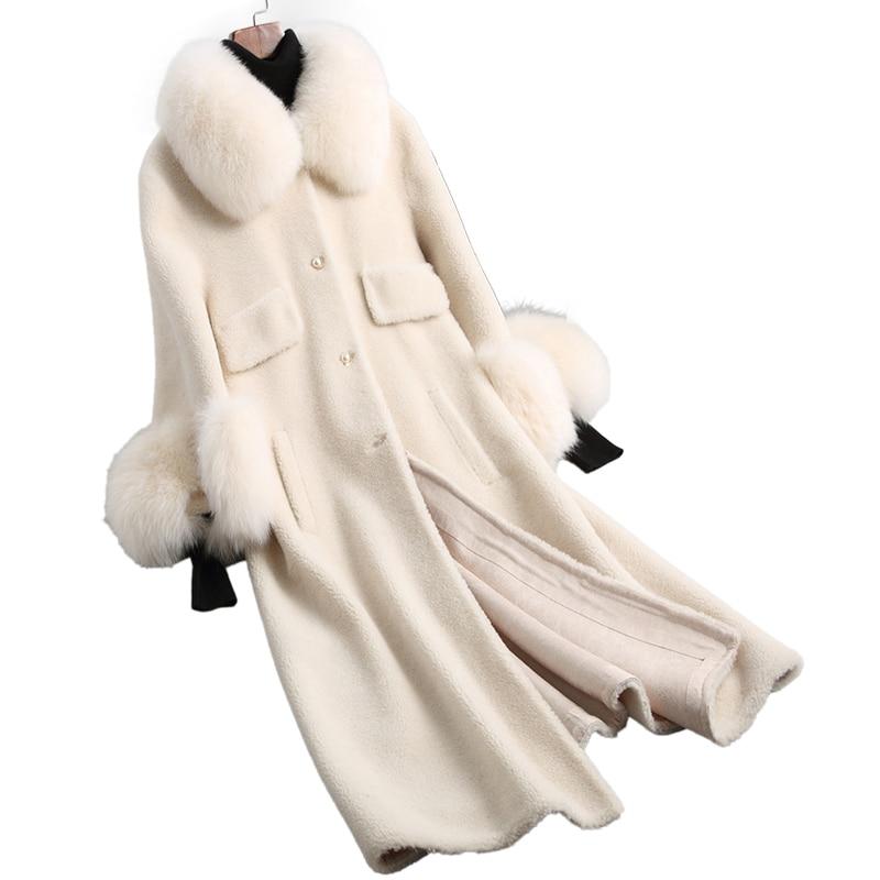 Laine Veste Renard Col De Fourrure Véritable Manteau De Fourrure Automne Hiver Manteau Femmes Vêtements 2018 Coréen Mouton Mouton Fourrure Manteaux Longs ZT891
