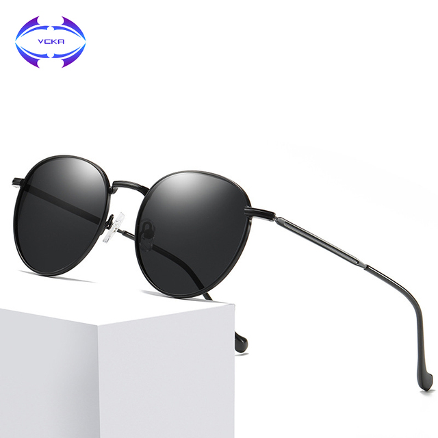 4d4ab13b7034 VCKA Metal Round Sunglasses Men Women Fashion Glasses Brand Designer Retro  Frame Vintage alloy High Quality UV400 Eyewear