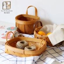 Деревянная плетеная корзина для хранения фруктов и планшетов