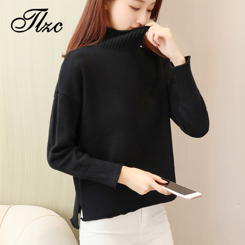TLZC 5 Colors Simple Design Turtleneck Lady Elastic Pullover 2018 Korean Women Knitted Sweaters New Fashion Tops