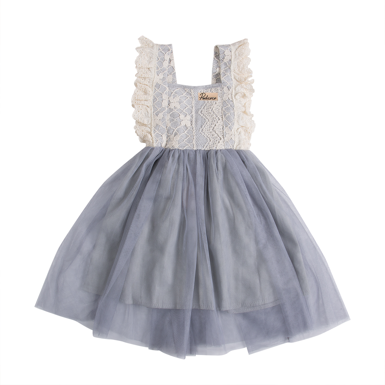229d05a6f515 Summer Toddler Kids Baby Girl Floral Cotton Lace Sleeveless Bowknot Party  Bow Grey Dress Sundress Clothes