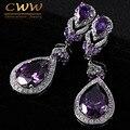 Estilo europeu E Americano de Alta Qualidade Ametista Purple Crystal Rhinestone Longo Gota Brincos Pendurados Para As Mulheres CZ167