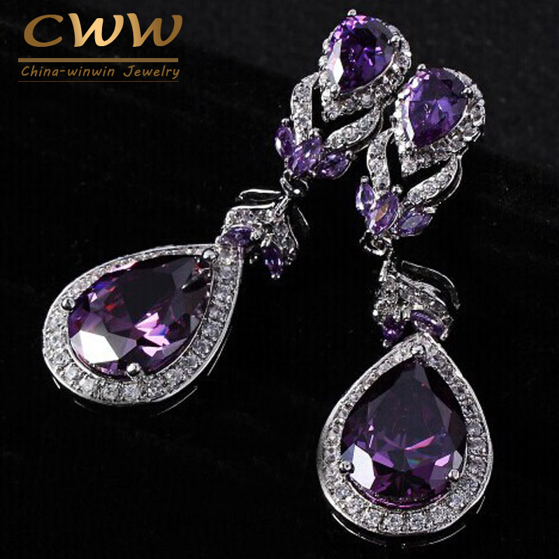 European And American Style High Quality Amethyst Purple Crystal Rhinestone Long Drop Dangle Earrings For Women