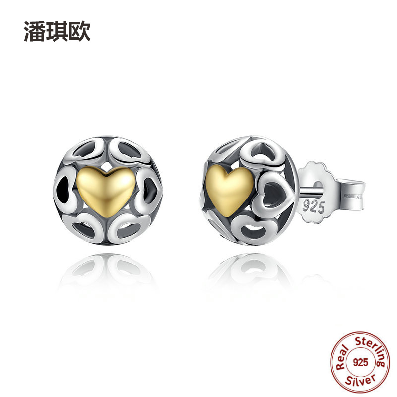 Authentic 925 Sterling Silver My True Love Stud Earrings for Women Openwork Heart Earring Compatible with pan jewelery