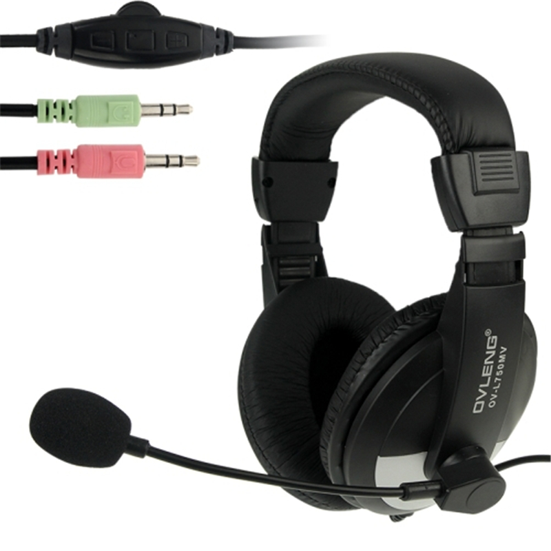 OVLENG OV-L750MV Universal Stereo Go Pro Headphones with Mic and Volume Control Key for Computer Laptop PC Gaming Headset r9842807 original bare lamp with housing for barco overview d2 ov 508 ov 513 ov 515 ov 708 ov 713 ov 715 ov 808 ov 815