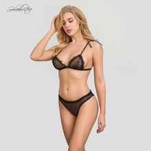 Selebritee Women Lace Bra & Brief sets Transparent Bralette Bras Backless Erotic Underwear Sexy Lingerie Unlined Bra Wire Free(China)