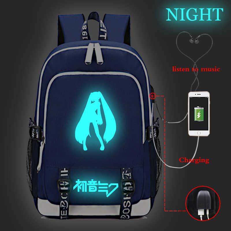 Jungen Mädchen Hatsune Miku Leucht USB Ladung Schule Taschen Schöne USB Lade Rucksack Mode Männer Frauen Reisen Rucksack