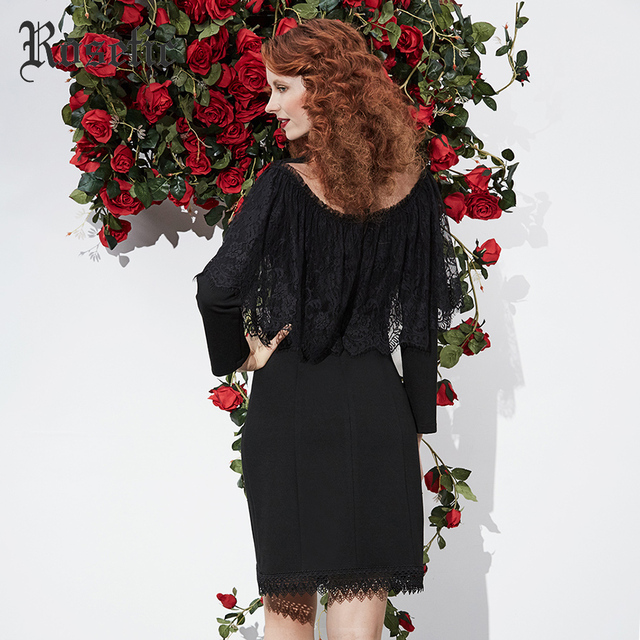 Rosetic Gothic 2018 Dress Black Women Spring Lace Slim Vintage Bodycon Hollow Ruffle Patchwork Sexy Fashion Goth Dresses  5