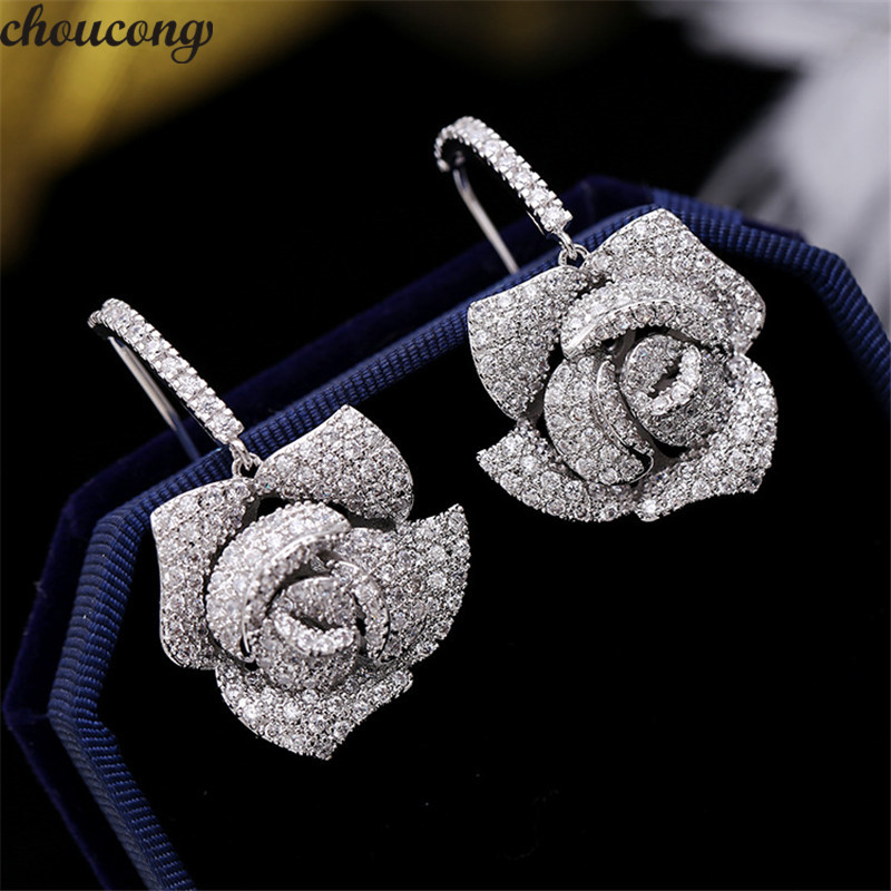 5122d6c3908e Choucong forma de flor gota pendiente pavé ajuste AAAAA circón 925 ...