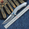 D2 Combat Pocket Folding Knife Steel Handle Blue Moon Bearing Tactical Survival Camping Knives Outdoor EDC