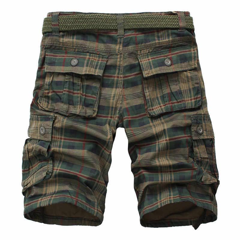 Men Shorts 2020 Fashion Plaid Beach Shorts Mens Casual Camo Camouflage Shorts Military Short Pants Male Bermuda Cargo Overalls