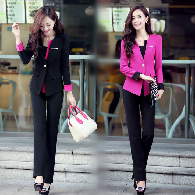 free shipping women 2 piece pants sets 2016 new pant suits for women fashion OL two piece set top and pants beautician workwear