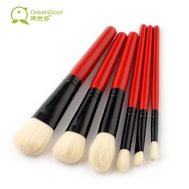 New Arrival 6 pcs/set Professional Makeup Brushes Set Red Wood Handle Foundation Flame Eye Shadow Brush Portable Make Up Tool shadow of the flame