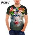FORUDESIGNS Fashion Summer Men T-Shirt 3D Animal Monkey Pattern Tops&Tees Colorful Floral Printed Men Short Sleeve T shirt
