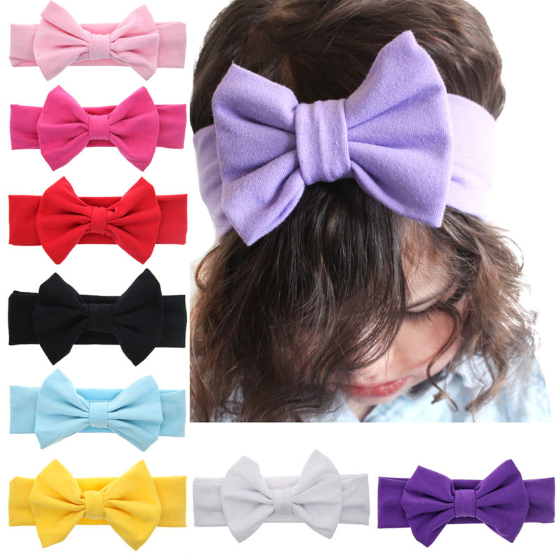 7 inches Hot New   Cute Girls Cotton Kids Hair Accessories Large Bow Hairband Turban Headband Summer Style Headwear 1 pc women fashion elastic stretch plain rabbit bow style hair band headband turban hairband hair accessories