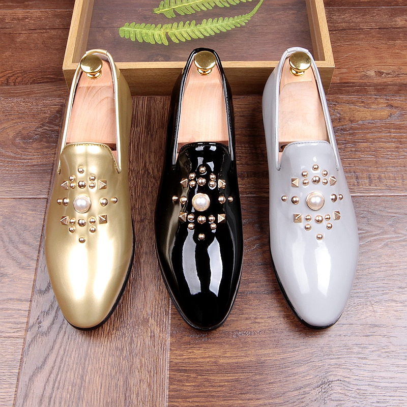 Fashion Gold Black Gray Mens Loafers Shoes Pearls Slip on Handmade Patent leather Driving Boats Shoes Flats Casual Mens Shoe Hot hot sales new fashion dandelion spikes mens loafers high quality suede black slip on sliver rivet flats shoes mens casual shoes