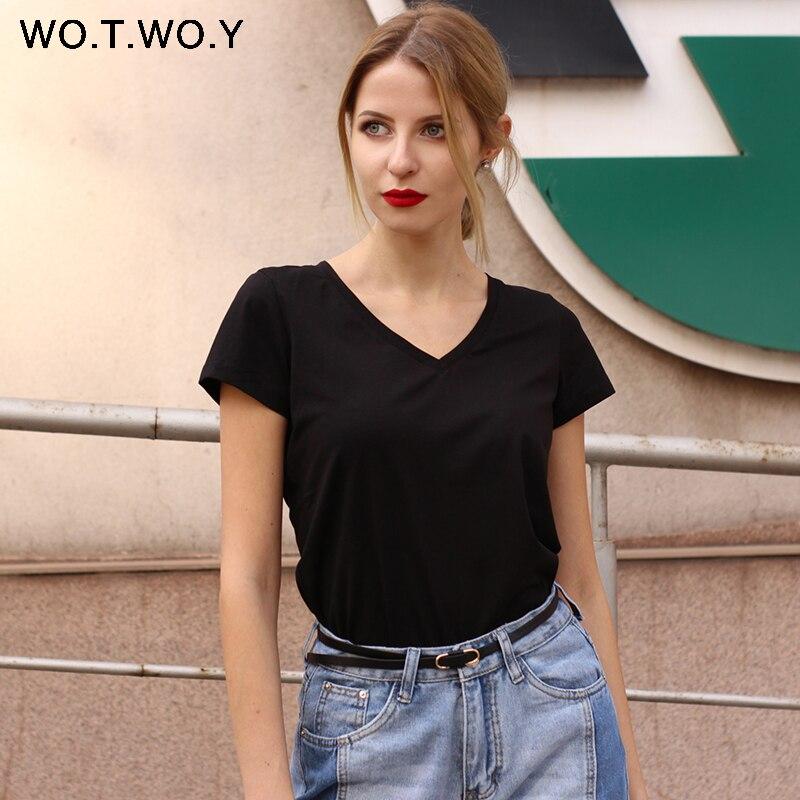 De alta calidad de cuello en V 15 Color caramelo de algodón Camiseta básica mujer Simple T camisa para mujer manga corta Tops mujer 077