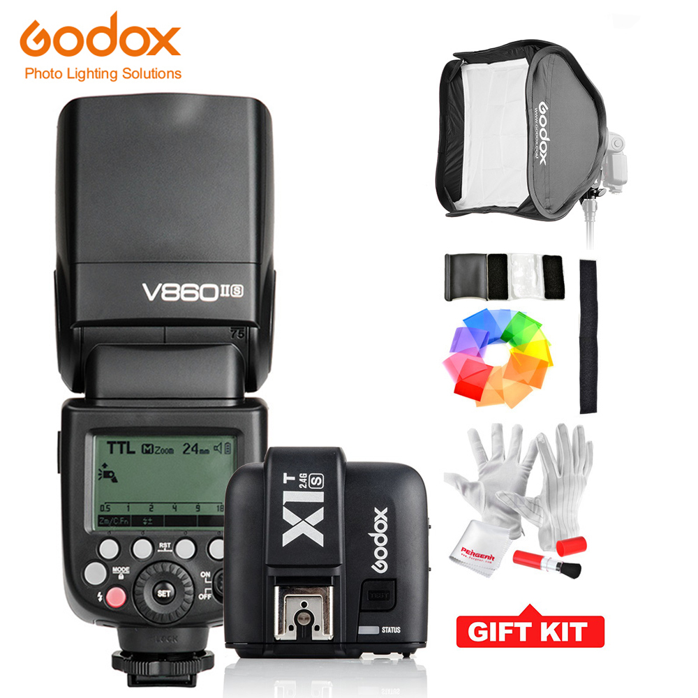 Godox V860IIC/ V860IIN/V860IIS + X1T-C/ X1T-N/ X1T-S HSS 1/8000S GN60 TTL Flash Speedlite 2.4G Transmission+Godox Softbox+Filter godox v860ii c v860iic speedlite gn60 hss 1 8000s ttl flash light x1t c wireless flash trigger transmitter for canon eos