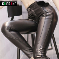 BLACK SEXY Winter Pants Woman Faux Leather Trousers With Velvet High Waist Thicken Casual Legging Skinny