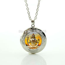 Dancing Shiva charm jewelry India Buddhist locket pendant Lord Shiva Geneisha silver necklace for men and women Jewelry N 833(China)