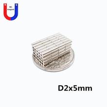 2000pcs 2x5 mm 2 x 5 N50 Super Strong Rare Earth Magnet Small Round Powerful Neodymium Fridge n50 2x5mm d2*5mm