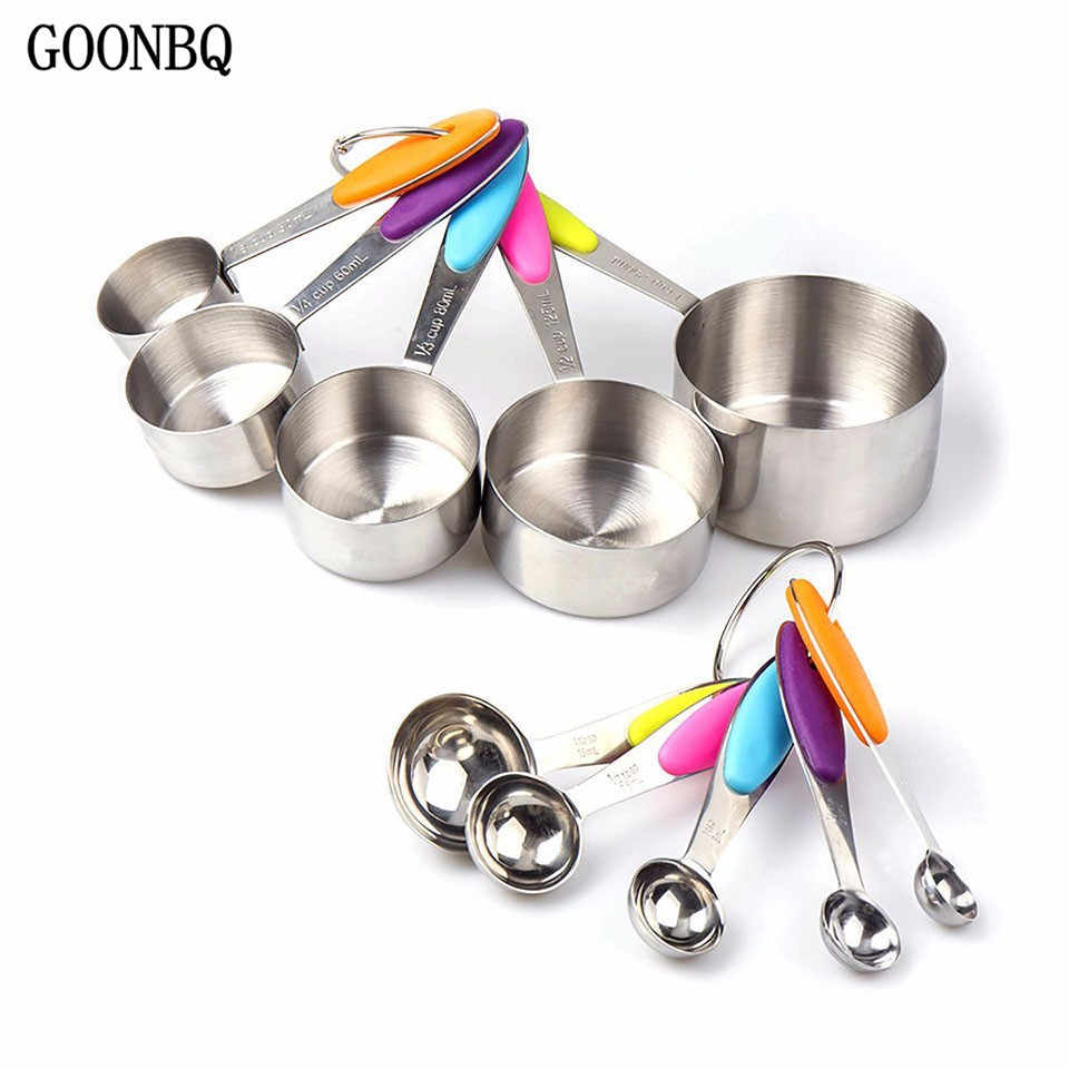 GOONBQ 10 pcs/set Measuring Cup Set Stainless Steel Measuring Spoon With Silicone Handle Foldable Baking Measuring Tool
