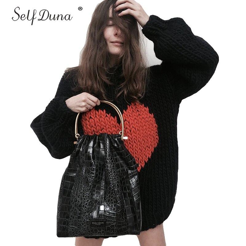 Auto Duna automne hiver demi pull à col roulé pull chaud tricot noël pull amour noir blanc femmes tricoté pull - 6