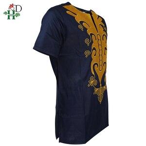 Image 2 - H & D african dashiki t shirt für männer kurzarm herren shirts traditionelle afrikanische bestickte tops gold dark blau kleidung 2020