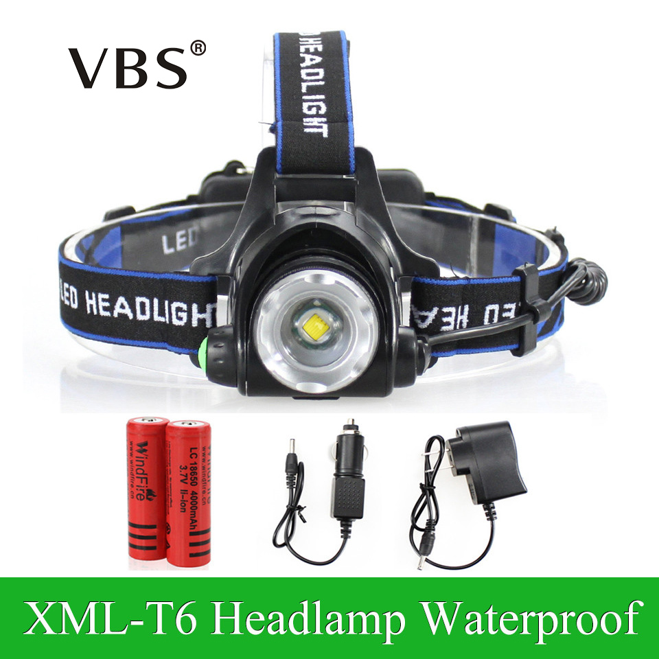 LED Headlight Cree XML-T6 Headlamp Zoomable Waterproof led 2000LM rechargeable 2*18650 + Charger Head lamps 3 Modes Head light hot waterproof t6 led headlight headlamp for camping hiking rechargeable head lamp light zoomable 4 mode adjust focus light