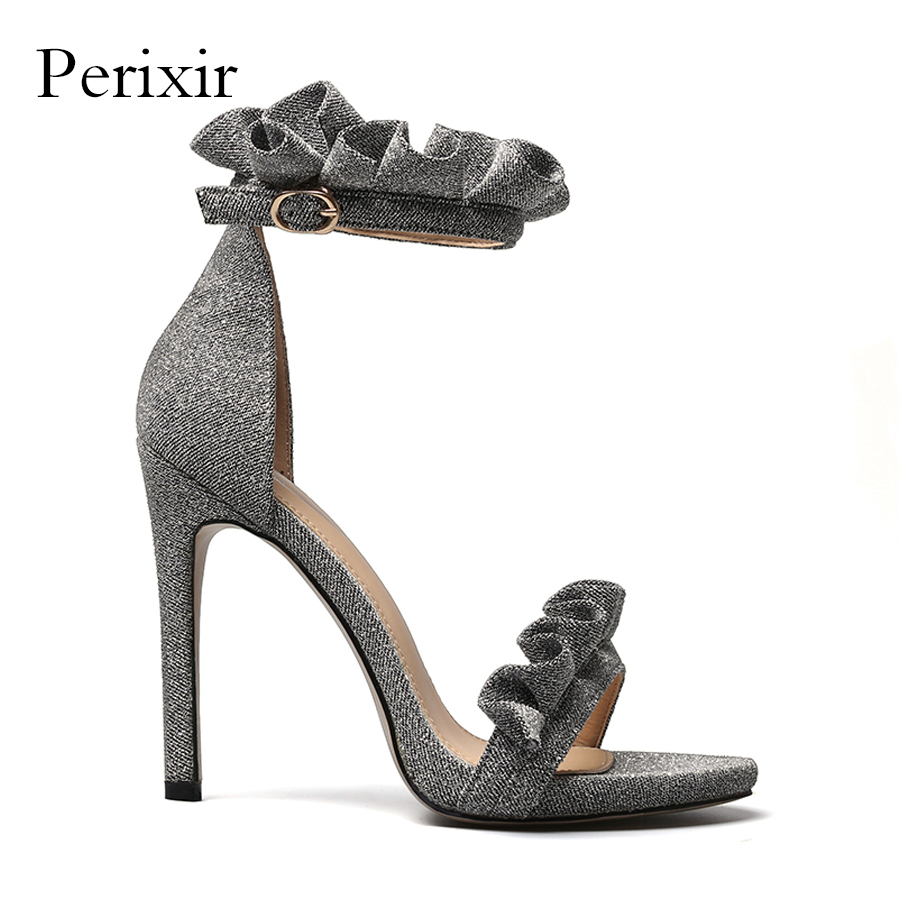 2018 New Summer Sandals Women Shoes Extreme High Heels Fabrics Ankle Buckle Strap Ladies Sandals Sliver Gold Sandalia Feminina apoepo women high heels sandals sliver gold black ladies shoes summer rivet cut outs females shoes buckle strap bridal shoes