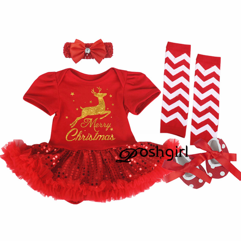 Xmas Baby Girl Christmas Costumes 1st Birthday Rompers