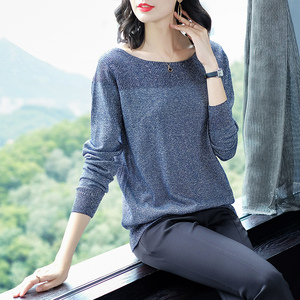 Image 3 - YISU 薄型セーター女性の O ネックセーター女性 2019 春秋のルースプルオーバーカジュアル明るいシルク固体セーター女性