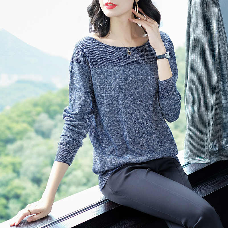 YISU Thin Sweater Women's O-Neck Sweater Female 2019 Spring Autumn Loose Pullover Casual Bright silk Solid Sweaters Female