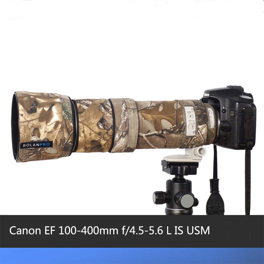 ROLANPRO Lens Clothing Camouflage Rain Cover Canon EF 100-400mm f4.5-5.6 L IS USM Lens Protective Case Lens Protection Sleeve