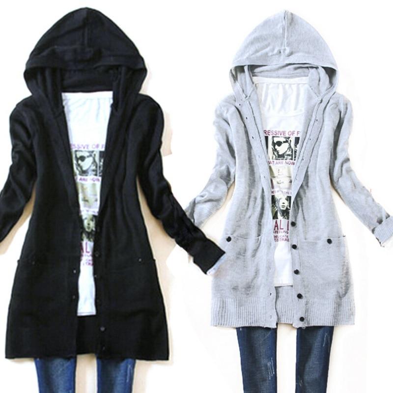 2017 Women's long sleeve knitted outerwear medium long hooded ...