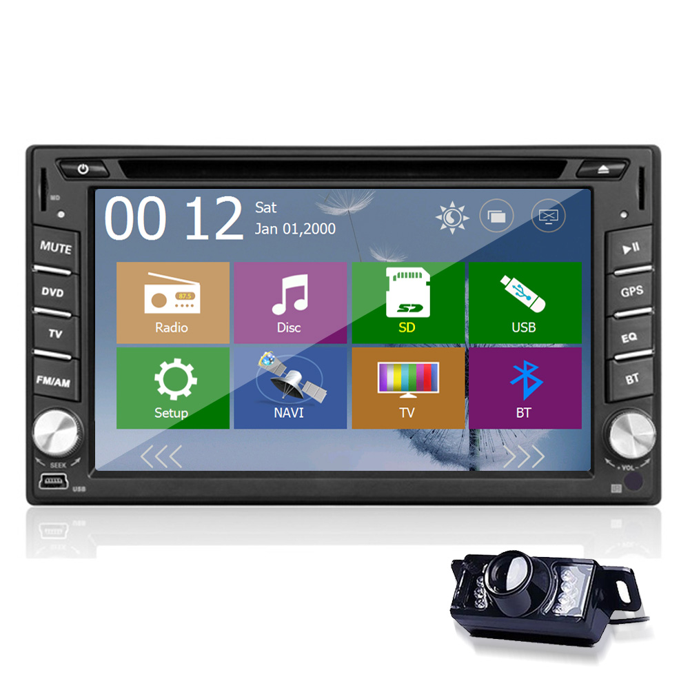 2085ad7276d3 MP5 USB doble DIN vídeo Navigator headunit receptor PC Radios sistema AMP  sub EQ GPS DVD del coche logo ESTÉREO FM AM 3D Mapas