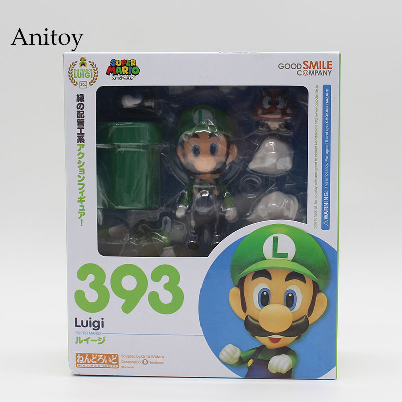 Nendoroid Super Mario Brother Mario #473 / Luigi #393 PVC Action Figure Collectible Model Toy 10cm KT3282 5 14cm super mario luigi collection model pvc action figures toy bobble head car ornament cartoon kids toy action figure model