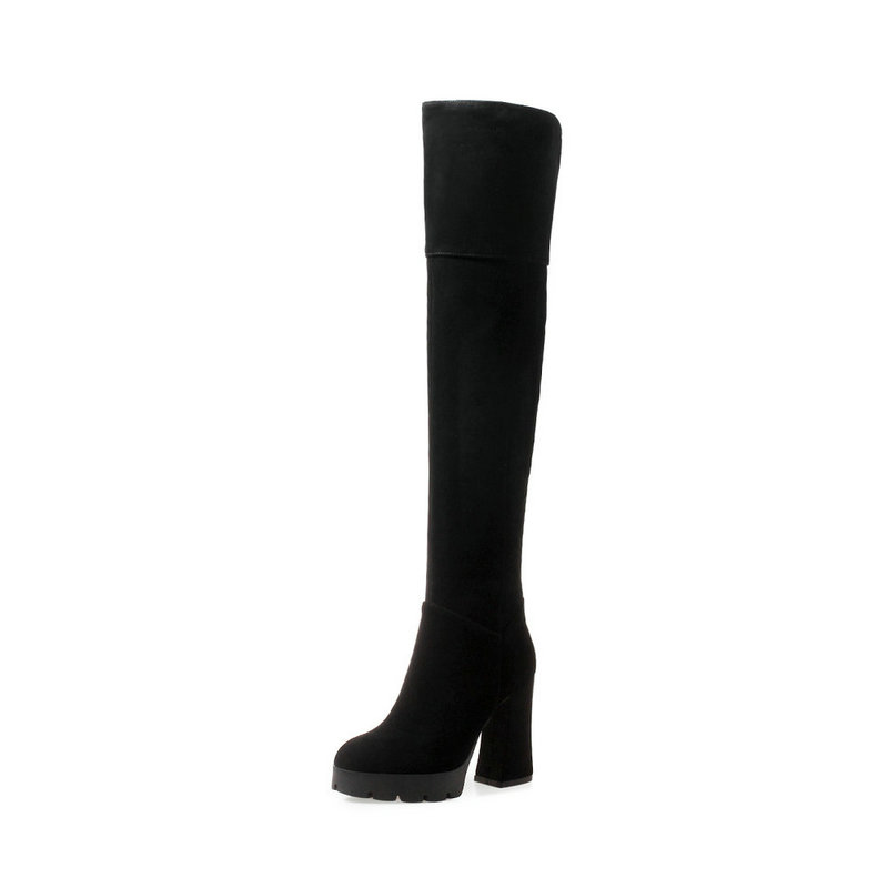 Para Muslo La Encima Botas Redondo Del Tacón Zapatos Cuadrado Negro Alto Dedo Gamuza Mujeres Alta Black De Cuero Por Pie Slim Rodilla IqUC0w