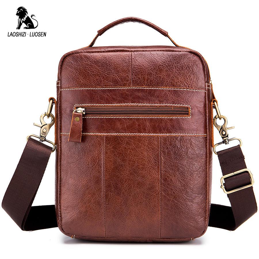 Image 3 - LAOSHIZI LUOSEN Messenger Bag Men Genuine Leather Shoulder Bag Men's bags Small Flap Casual Crossbody Bags for Men Handbag 2018-in Crossbody Bags from Luggage & Bags