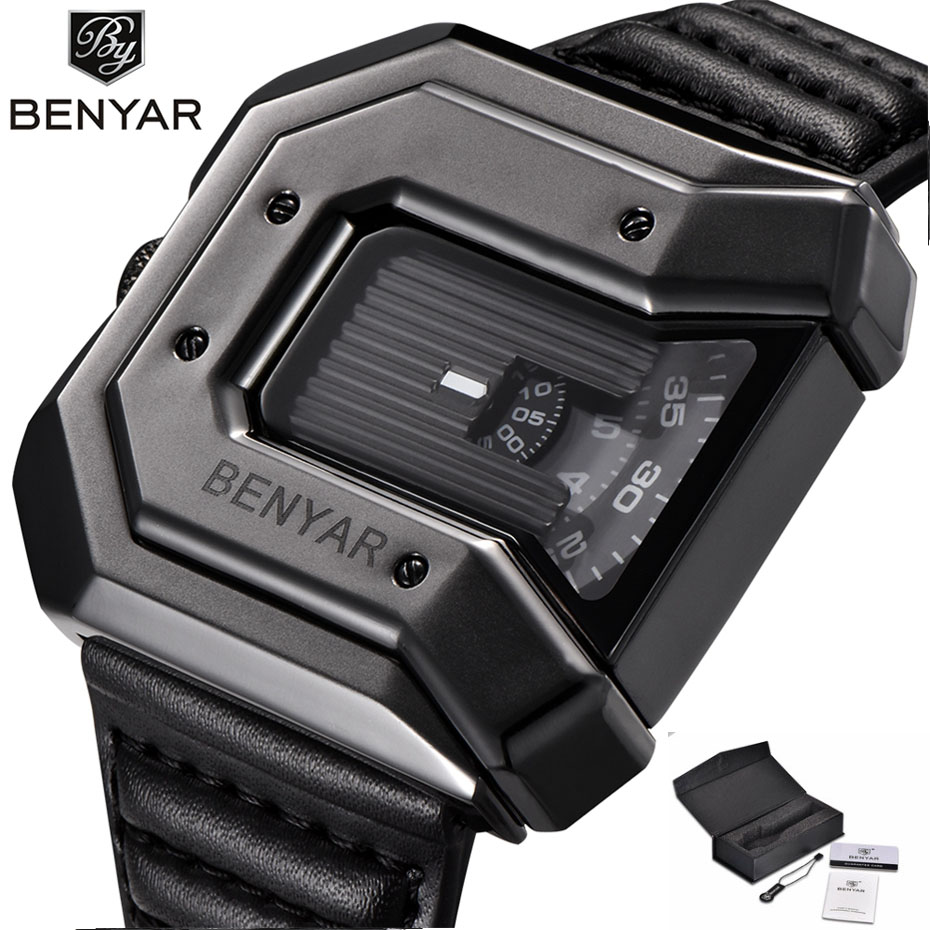 BENYAR Futuristic Creative Waterproof Watches for Men Stylish Square Genuine Leather Golden Black Quartz Wristwatch Luxury Gifts l 10 women s stylish petals style bracelet quartz analog wristwatch golden white 1 x lr626