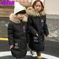 2016 новых детских пуховик мальчики длинные девушки детей s зима толстые верхняя одежда пальто с капюшоном воротник натуральный мех унисекс