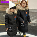 2016 new children 's down jacket boys long girls children' s winter thick coat outerwear overcoat hooded collar real fur unisex