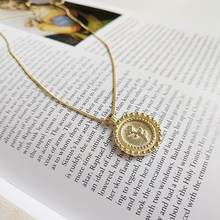 Peri'sBox Gold Color Rose Flower Pendant Necklace 925 Sterling Sliver Round Disc Chokers Necklace 2018 Minimalist Layered Choker(China)