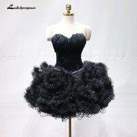 Короткие перья вечернее платье 2018 черный Для женщин вечерние платье Сексуальная Милая Вечерние платья бальное платье халат De Soiree