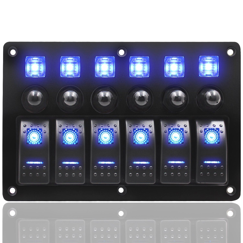 ABS Waterproof 6 Gang Car Boat Marine Ship Blue LED Rocker Switch Panel Circuit Breakers 12V