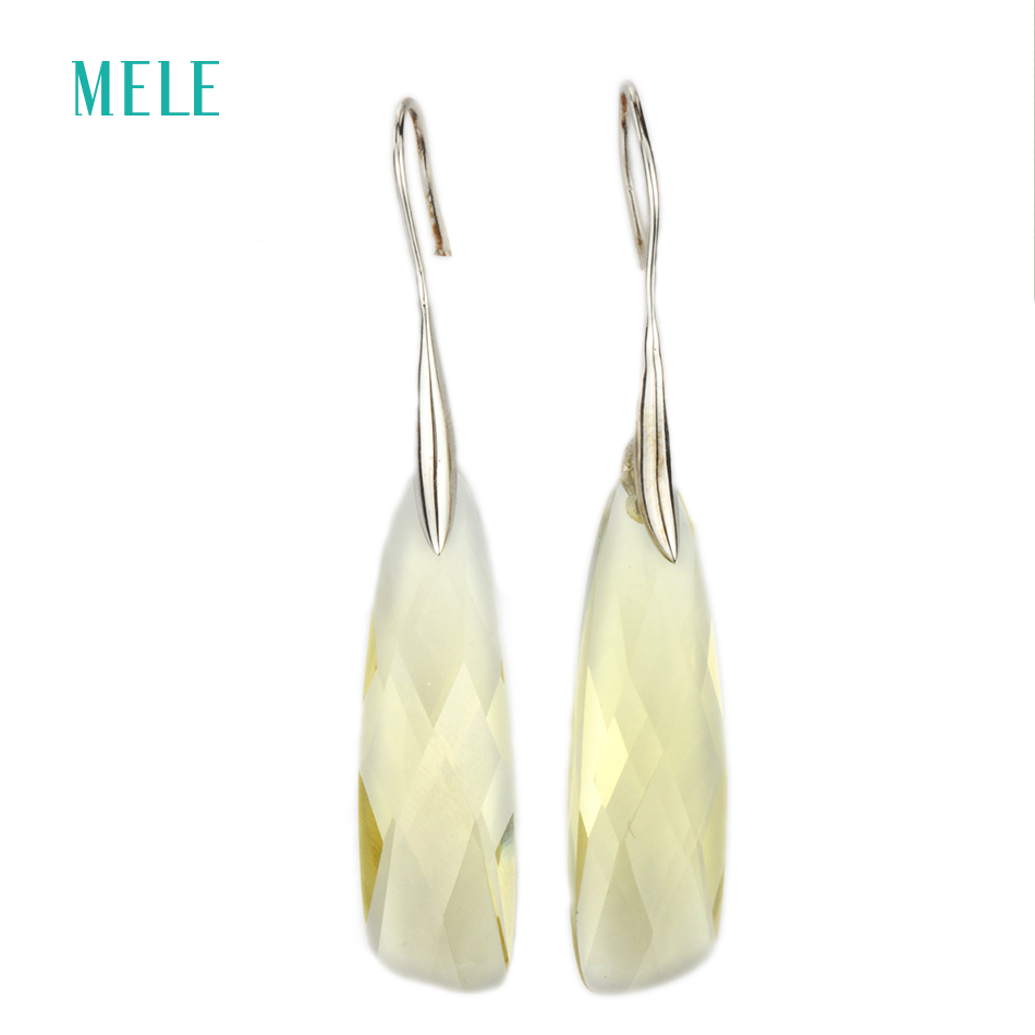 Natural lemon quarts silver earring midium yellow color and special size in 9mm 32mm pure and